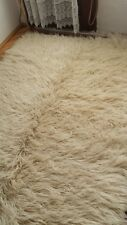 7' x 4.5' Natural wool Vintage Handwoven Authentic Large Flokati shaggy tulu rug