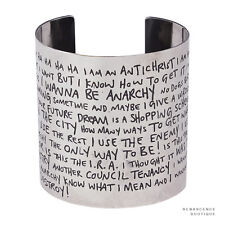Tom Binns Silver-Tone Metal Sex Pistols Anarchy in the UK Lyrics Cuff Bracelet