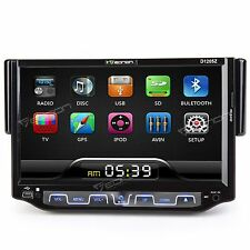 "Single Din In-Dash 7"" Flip-Out LCD Touchscreen DVD Car Stereo Receiver w/ USB S"