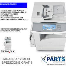 Stampante Multifunzione A3 Lexmark x860de 60ppm PARI A NUOVOFAX SCANNER DUPLEX