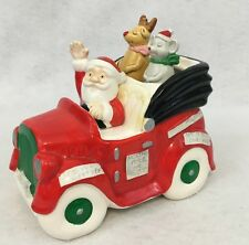 Vintage Santa Claus in Car Music box Musical Animated reindeer & mouse Christmas