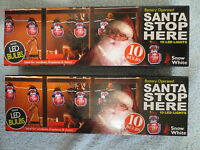 2 boxes Light Up Santa Please Stop Here Window Sign Christmas display decoration