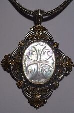 KONSTANTINO Silver 925 18k Gold Mother Of Pearl Cross Large Fine Charm Pendant