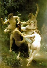 Old Masters reprint (v1f24) Nymphs and Satyr 1873 by William Bouguereau