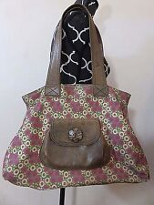 MIMO Pink Green Canvas Floral Print Leather Handles & Pocket Large Purse Bag