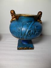 OLDVintage Chic Gold And Blue Bamboo Angel Compote Mid Century Decor Japananese