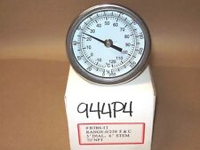 """THERMOMETER 3"""" FACE 6"""" STEM 0-250*F 1/2 NPT BACK  944P4"""