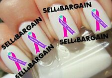 THYROID CANCER AWARENESS RIBBON LOGO》PURPLE, PINK, TEAL》Tattoo Nail Art Decals