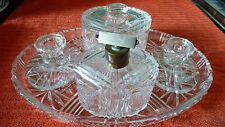 ART DECO CUT GLASS DRESSING TABLE SET_ 5 PIECE VANITY SET WITH ATOMISER