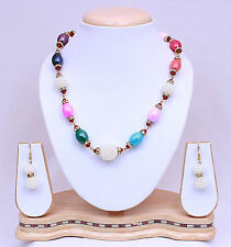 SOUTH INDIAN  BOLLYWOOD INDIAN PEARL GOLD TONE NECKLACE SET PARTY WEAR JEWELRY