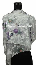 "New Stunning 60""x20"" 100% Pure Silk Floral Sheer Scarf Wrap, Off White/Purple"