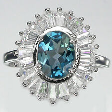 Argento Sterling 925 Londra Blu Topazio & Baguette Lab Diamond Ring SZ T (us9.75)