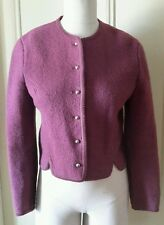 Vintage Northern Isles Boiled Wool Cropped Button Up Sweater Jacket Womens 6
