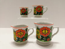 A Price Import Japan Vintage 4 Ceramic Measuring Pitcher Cups - Floral Pattern