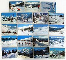 Sammlung Ski-Pisten Schweiz Postkarten 18x Ansichtskarten mit Helvetia Frankatur