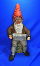 Antique German Art Pottery Garden Yard Outdoor Gnome / Dwarf with Accordeon #^