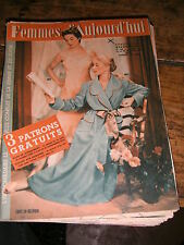 Femmes d'aujourd'hui N°498 1954 Mode vintage 3 patrons Couture Broderie Robe