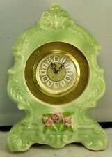 Vintage Coventry Pottery Ceramic Mantel Clock, Mechanical Germany, Lime Green