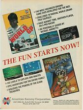 Vtg. 1990 Nintendo NES ARKISTA'S RING / WORLD GP racing video game print ad page