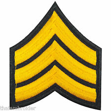 US Army Sergeant Stripes E-5 Military Yellow Sew Embroidered Iron on Patch #P006