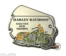 HARLEY DAVIDSON SALUTES OUR TROOPS DOG TAG VEST PIN WIT MILITARY WLA MOTORCYCLE