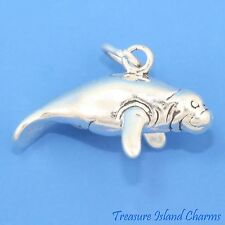 MANATEE SEA COW 3D .925 Solid Sterling Silver Pentant Charm