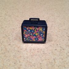BARBIE DOLL MINIATURE LUNCH BOX BLUE WITH FLOWERS REALLY OPENS