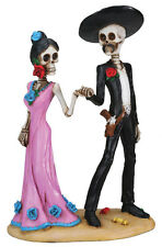 DOD BRIDE GROOM SKELETON HALLOWEEN WEDDING CAKE TOPPER FIGURINE.DAY OF THE DEAD