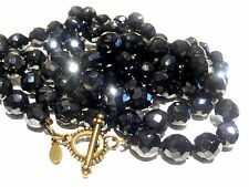 """LEE ANGEL Faceted Jet Black Crystal/Glass Beads Knotted Necklace Toggle 44""""112cm"""