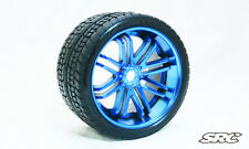 SRC Road Crusher [Belted Tires / Wheels] for 17mm Hex Blue Chrome (Pair)