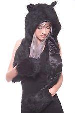 Blackened Nature Hoodie | Black Wolf Animal Fur Hoodie w/ Scarf and Mittens