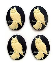 4 Majestic IVORY color HORNED OWL 40mm x 30mm Costume Jewelry CAMEOS for Crafts