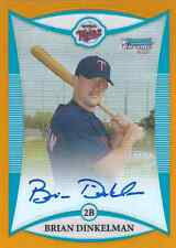 2008 Bowman Chrome Prospects Brian Dinkelman Orange Refractor RC Auto #15/25