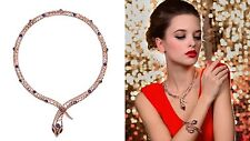 Swarovski Element Crystal Purple Rhinestone Rose Gold Plated Snake Necklace Gift