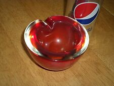 MURANO-- Italy, Hand Blown Red Colored, Round Shaped Glass Ashtray, Tobacciana