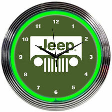 Jeep Neon clock sign Green wall lamp Willys all american legend Since 1941