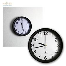 Funkwanduhr Funk Wanduhr 26cm Ø schwarzer Rahmen weißes Ziffernblatt Funkuhr Uhr