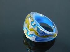 Beautiful Murano Glass Silver Foiled Lampwork Handmade Sky Blue Ring US 6.5""