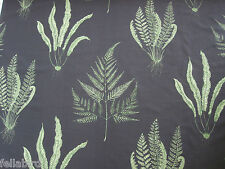 "SANDERSON CURTAIN FABRIC DESIGN ""Woodland Ferns"" 6 METRES CHARCOAL AND LIME"