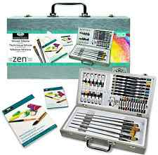 50 PIECE ZEN PAINTING & SKETCHING ARTIST BOX SET BRUSHES PADS PAINTS MML4301