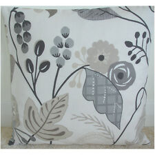 """20"""" Cushion Cover Taupe Beige Grey and Cream Tropical Flowers"""
