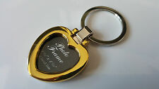 3D Metal Gold Heart Keyring Keychain Personalized Photo Insert Gift Love Friend