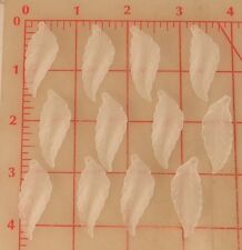 12 frosted translucent white plastic leaf shape pendants 38mm x 14mm leaves