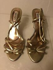 """BADGLEY MISCHKA"" WOMENS USED GOLD LEATHER HIGH HEEL SANDALS SIZE 10M SHOES"