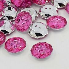 LOT 10 BOUTONS FANTAISIES STRASS ROSE FONCE 18 mm - 2 TROUS COUTURE SCRAPBOOKING