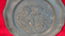 RARE Pewter Metal Plate Raised Mother Daughter in Kitchen Winged Angel Mark