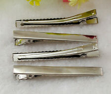 10pcs Silver Prong Metal Hair Alligator Clip 76mmX8mm & H1096
