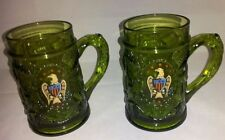 2 EMERALD GREEN Thick Glass Beer Mug Cup Embossed Vine Design EAGLE SHIELD
