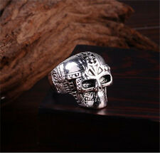 Men's Stainless Steel Silver Fashion Gothic Skull Male Finger Ring Size-9