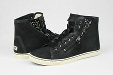 UGG AUSTRALIA BLANEY CRYSTAL BLACK LEATHER CASUAL ANKLE SNEAKER SIZE 8 US
